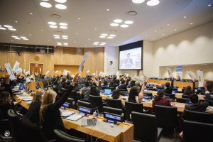 A picture of delegates seated at the UNHQ for Future We Want Model UN 2019