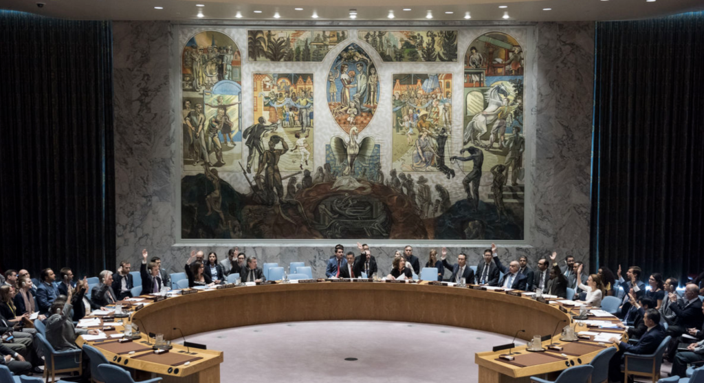 Delegates from around the world gathering at the Security Council.