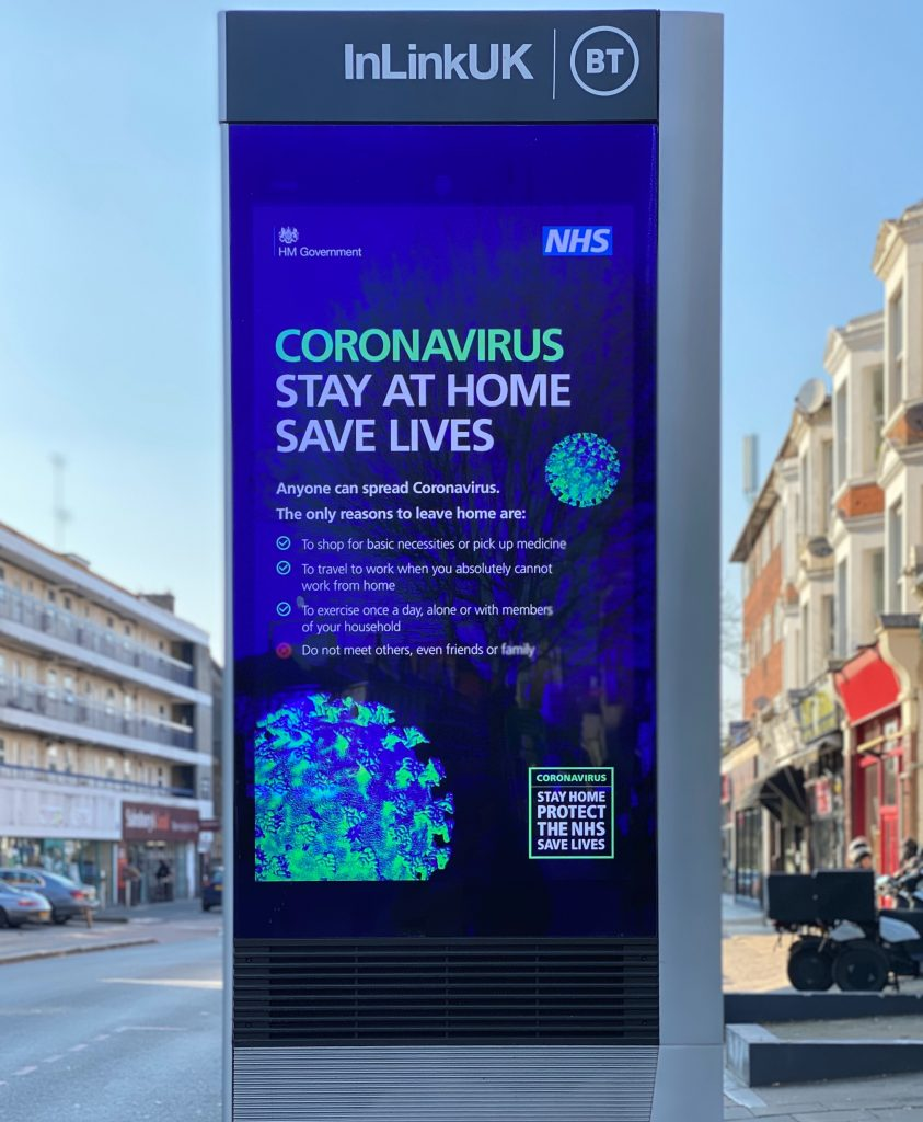 Image of a billboard in the U.K. asking citizens to stay at their homes during the Coronavirus lockdown.