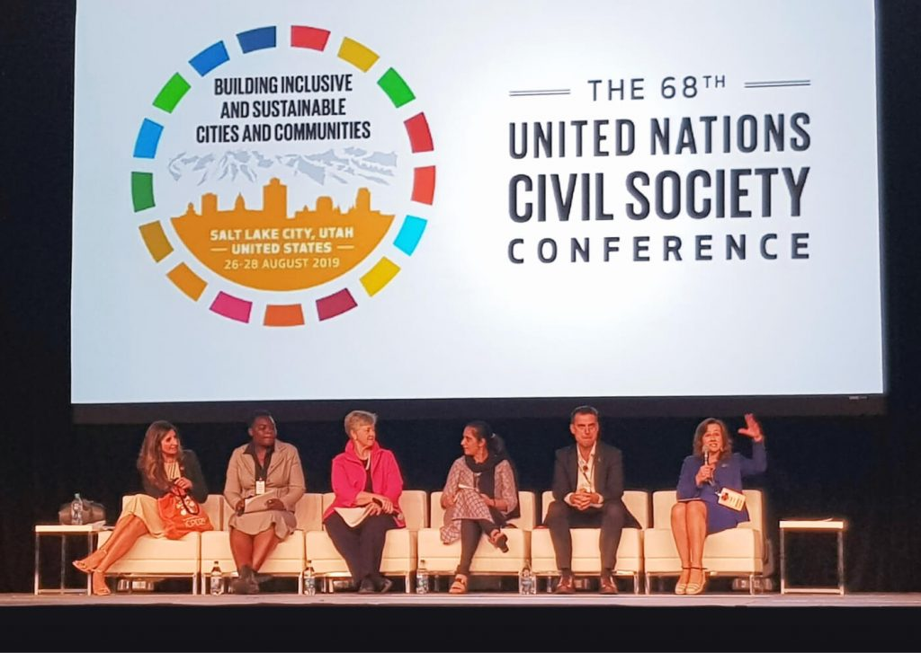 Image of speakers at the 68th United Nations Civil Society Conference.