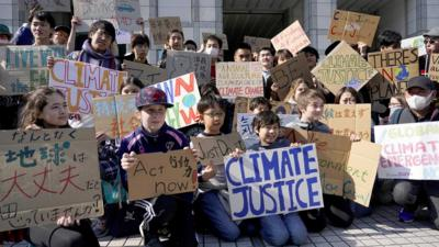 A picture of young people protesting climate  change inaction