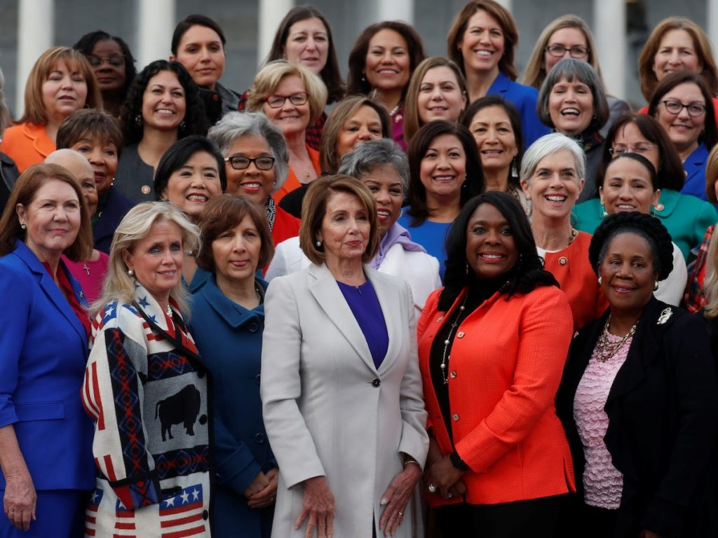 An image of female leaders and politicians gathered