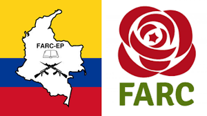 Image showing two flags of  the the FARC-EP when they were a guerrilla group and then when they became a political party following the peace agreement