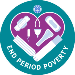 Image of a poster about a campaign to end Period Poverty by  girlsguiding.
