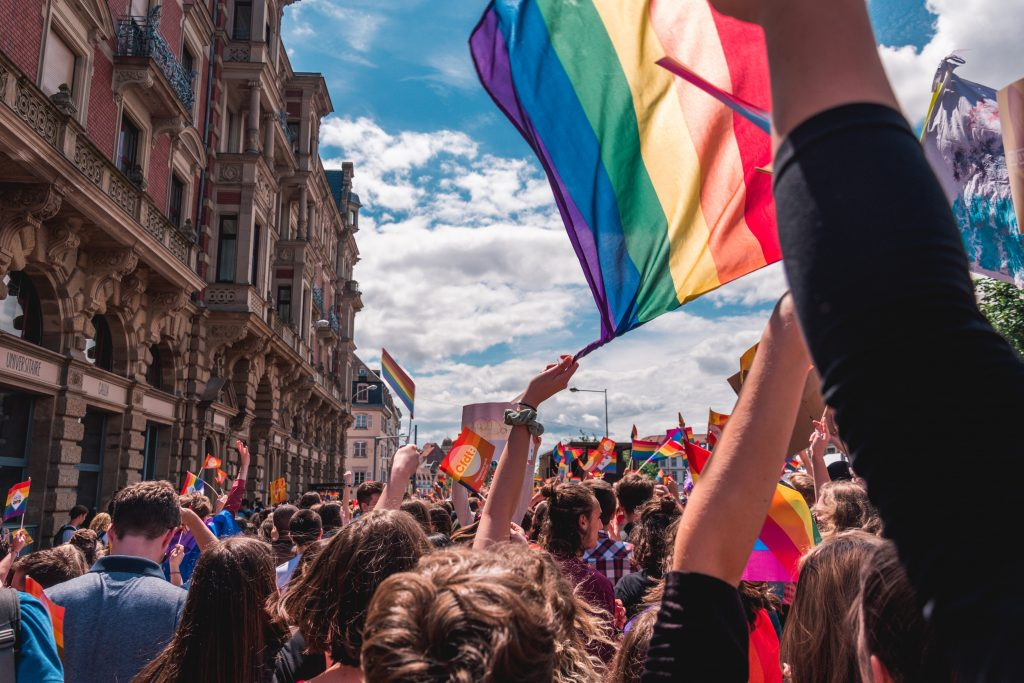 This image shows a march of LGBTQ+ pride.