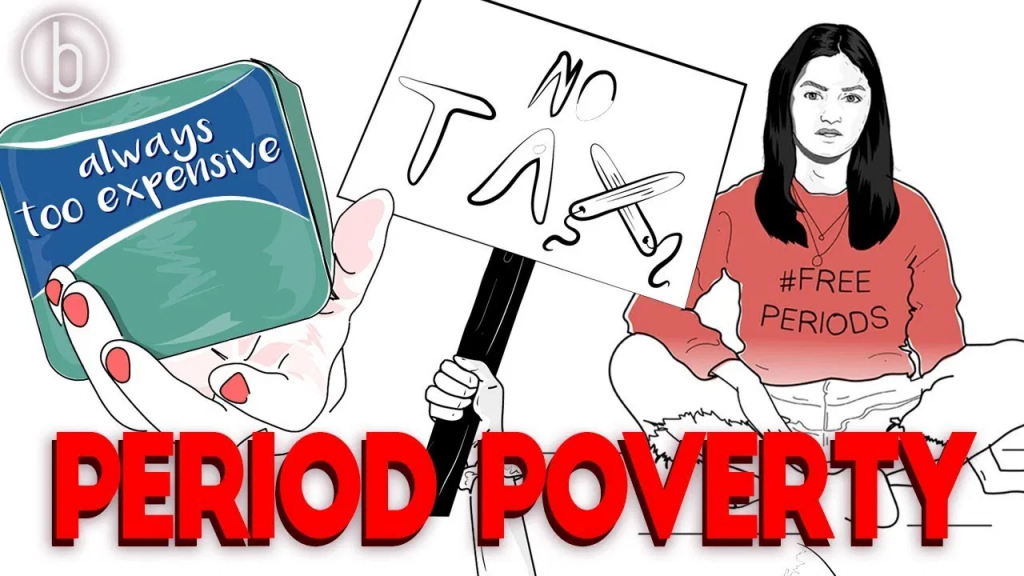 an image of a movement on period poverty by feminism in India