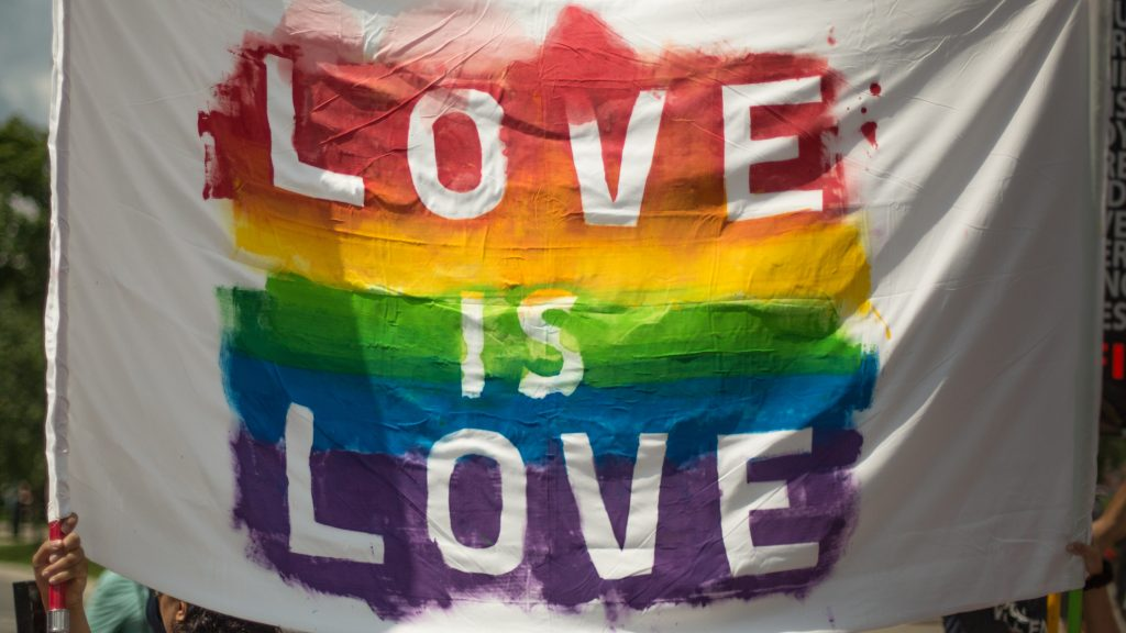 "An image of a  flag with the LGBTQ+ colors with ""love is love"" written."