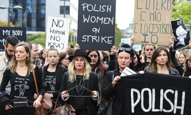 Image of Polish women marching against the abortion amendments. This is their fight for abortion rights.