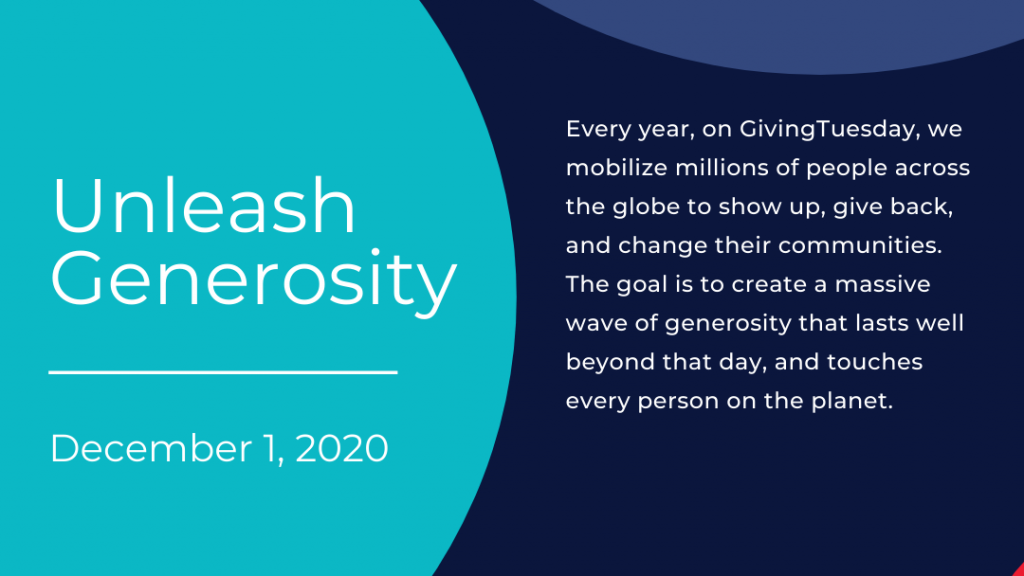 This photo from GivingTuesday's website sums up what GivingTuesday is and what they do for communities around the world.