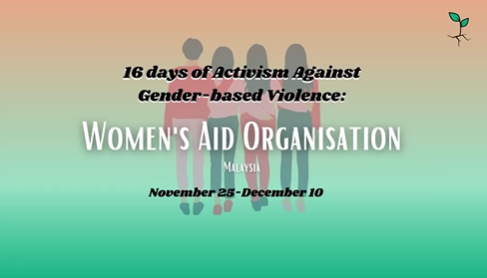 """A backdrop of women with their arms aroundd each other and the overlaying text """"16 Days of Activism against Gender-Based Violence"""" and text in white saying """"Women's Aid Organisation"""""""