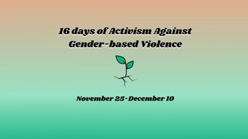 """An image of a root breaking out of ground. A heading saying """"16 Days of Activism Against Gender Based Violence"""""""