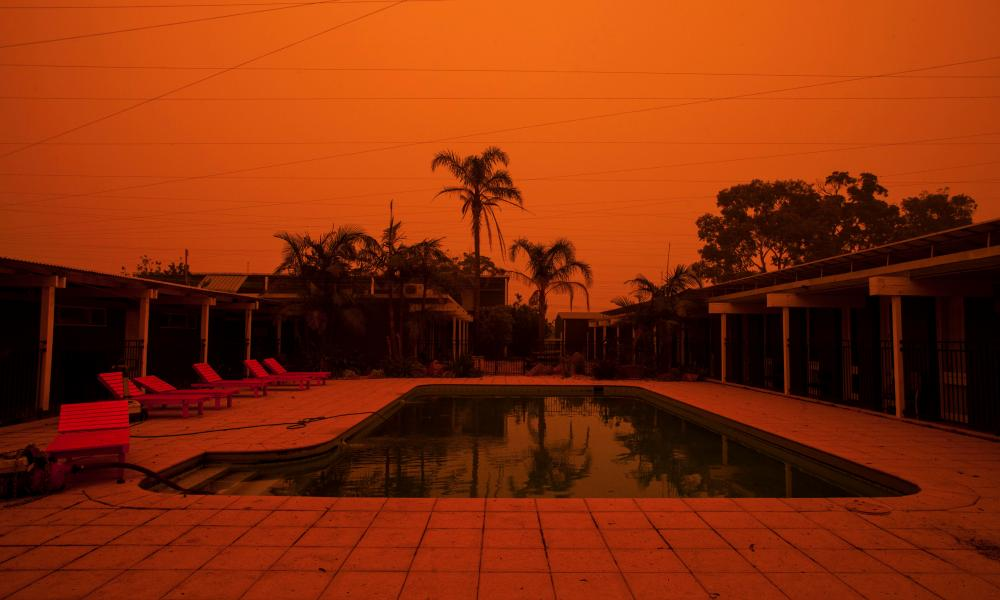 The blood-orange daytime sky in Mallacoota during the fires. Photograph: Rachel Mounsey/The Guardian.