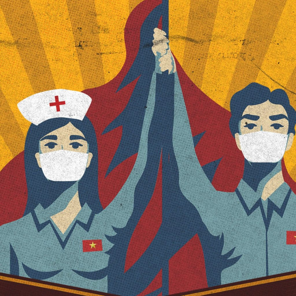 A propaganda poster. A nurse and a man holding each other's hands in triumphant - symbolising civil society's fight against COVID-19 virus.