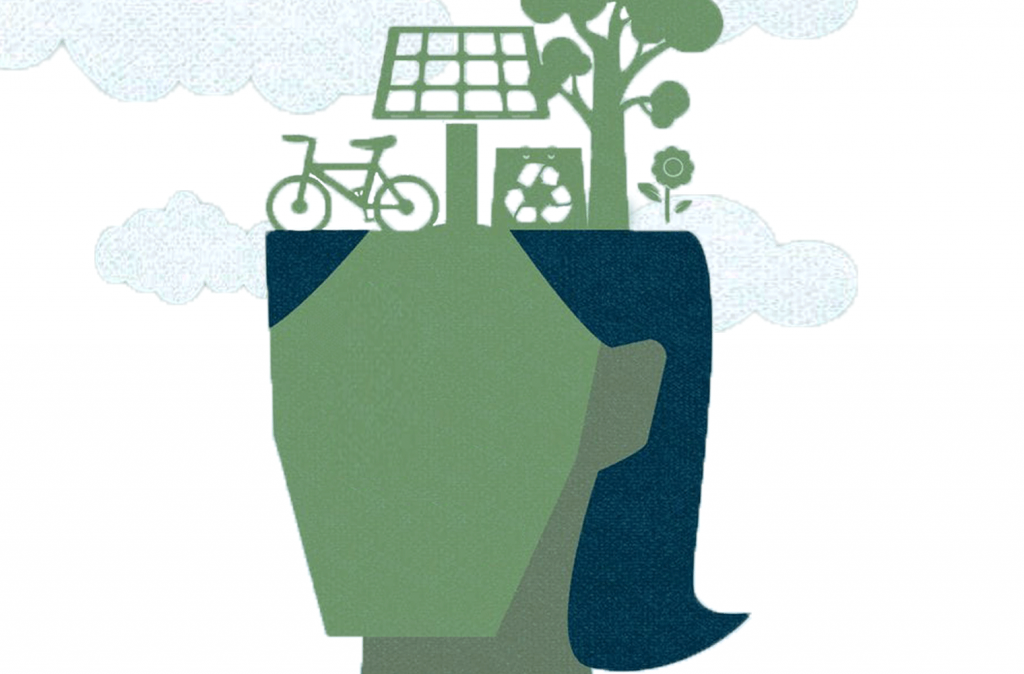A digital drawing of a bicycle, solar energy panel, recycle bin, and tree placed on top of a woman's head.