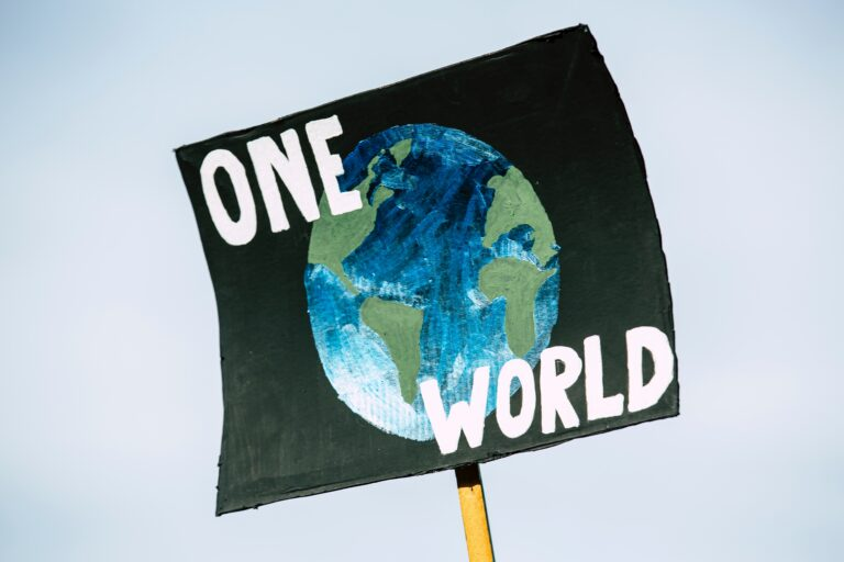 """An image of a poster with a drawing of the Earth and the words """"One World"""" on it."""