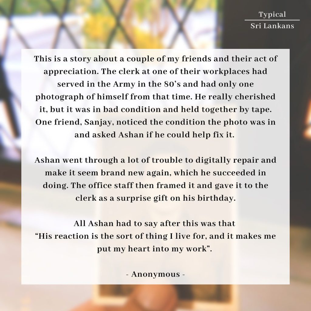 A short story about an act of goodness by a typical Sri Lankan.
