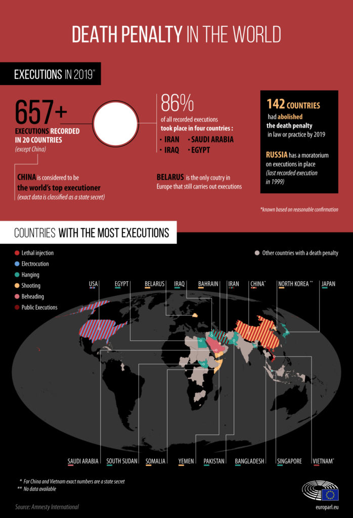 A statistical image depicting the percentage of executions carried out by each country