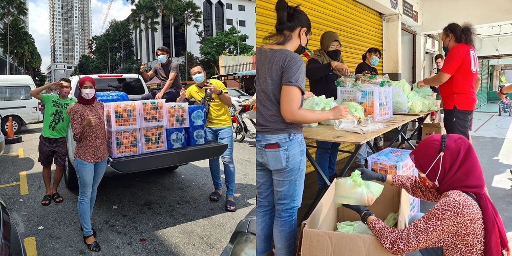 Volunteers distributing food during the Covid-19 pandemic.