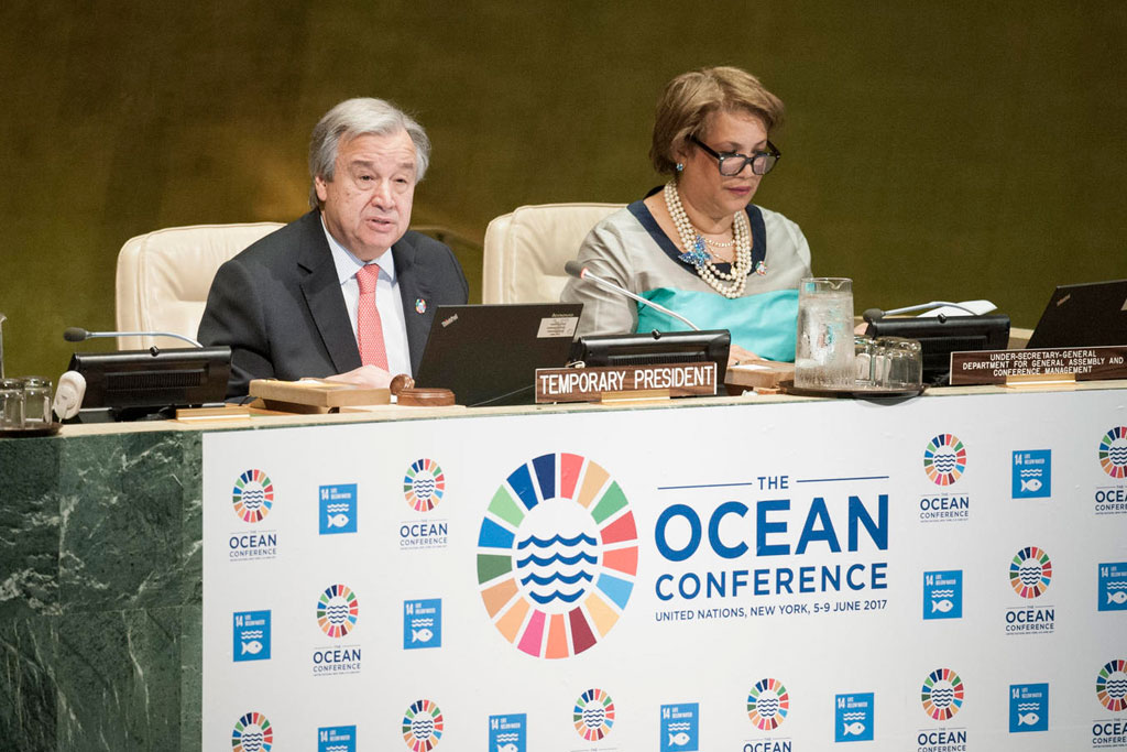An image of the United Nations Conference to Support the Implementation of Sustainable Development Goal 14: Conserve and sustainably use the oceans, seas and marine resources for sustainable development, First Plenary Meeting