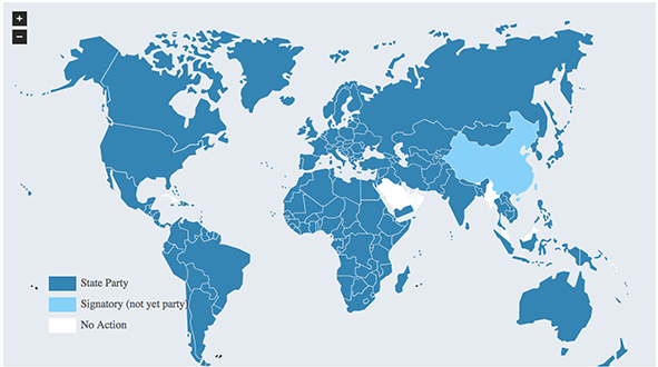 An image depicting the status of of countries in signing and ratifying the ICCPR