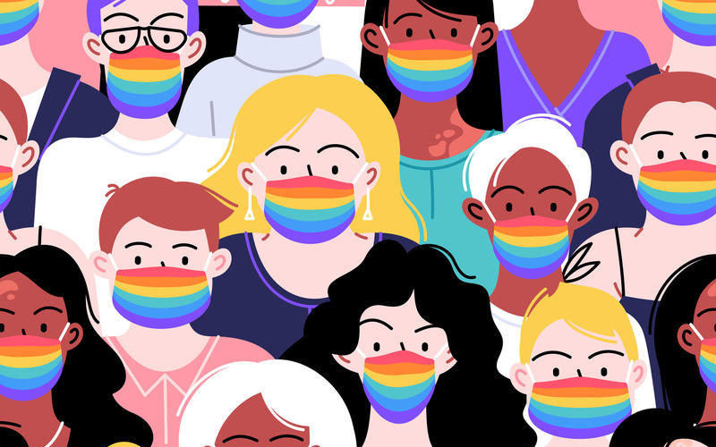 Crowd of different people of different identities ethnicities and sexes wearing rainbow face masks.