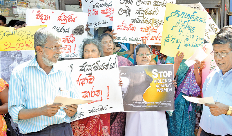 An image of public protest against rape and violence against women in Sri Lanka