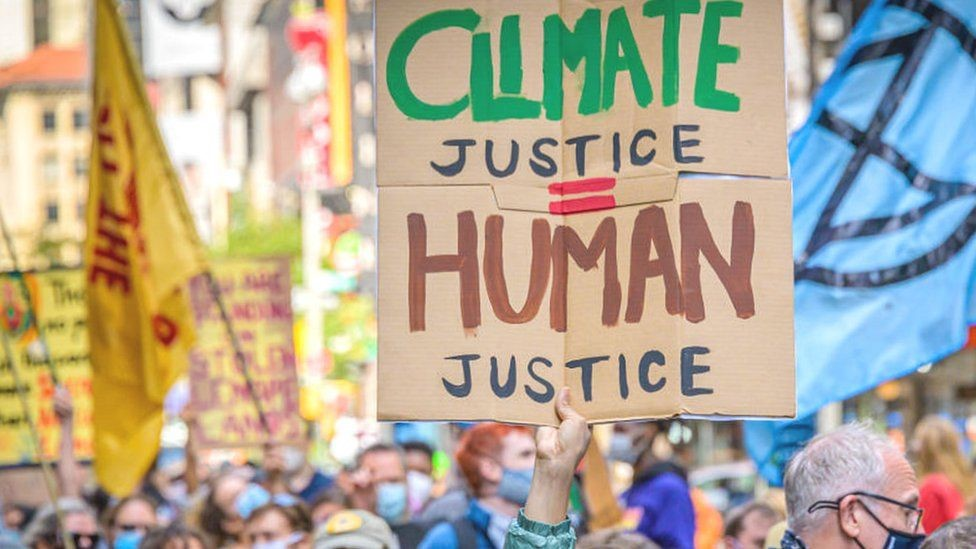An image from a protest for climate justice