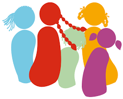 A colorful Illustration of a girls' Group, united al together !