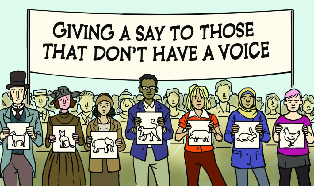 Illustration showing people in support for Animal Rights