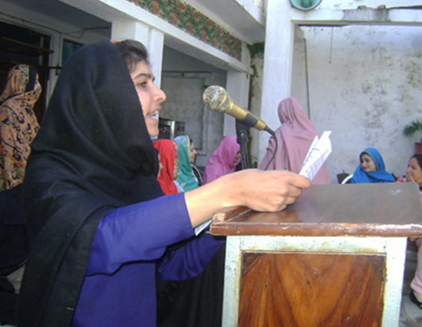 This image show Malala's first speech in a press club in Peshawar at the age of eleven years.