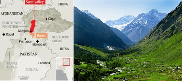 This image shows the location of Swat valley on the map and gives a glimpse of its beauty before the Taliban took control.