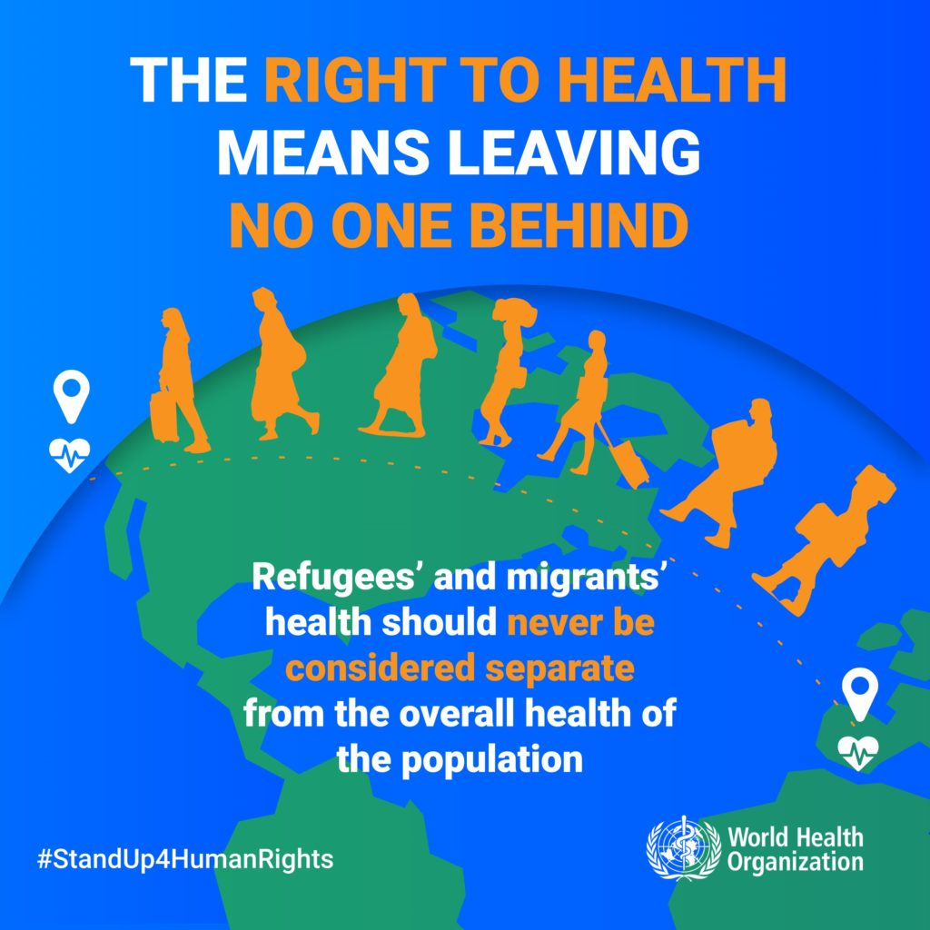 This picture emphasizes that refugee health is as important as the health of other people