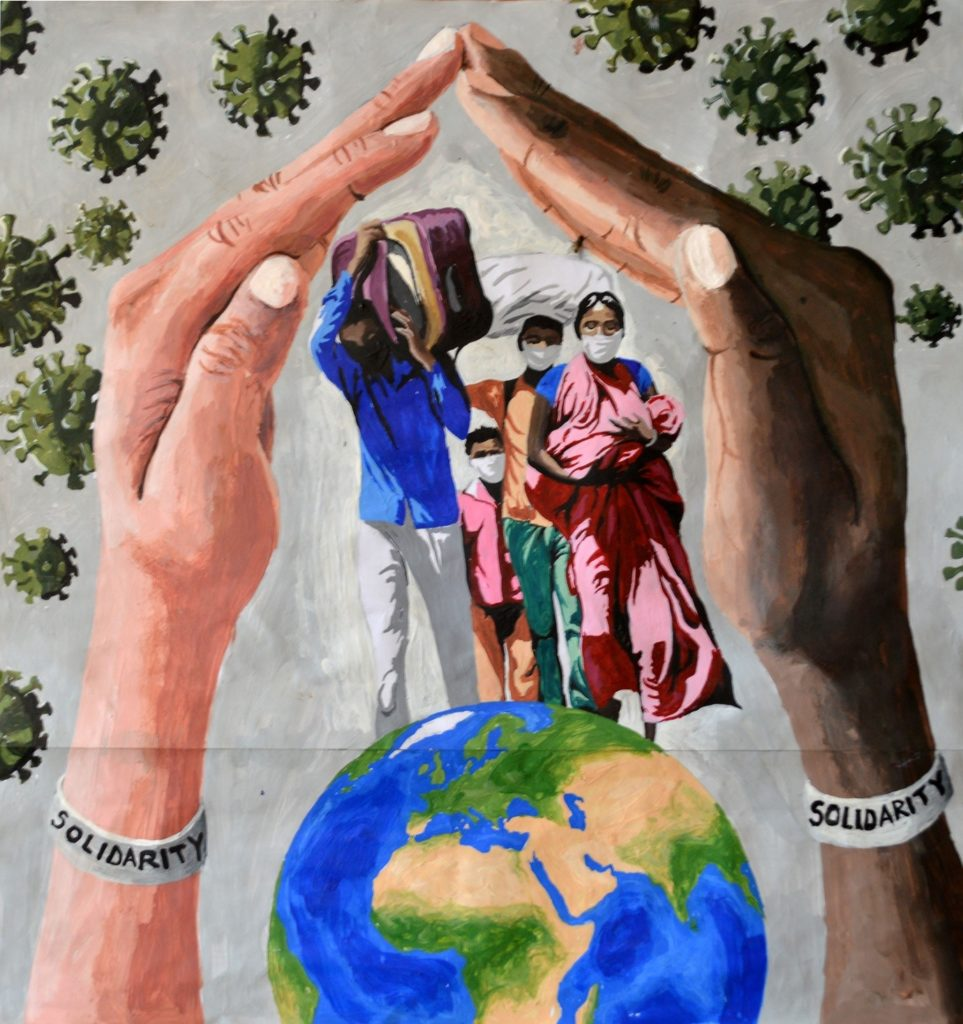 This image shows two hands that are protecting the refugees from social abuse.