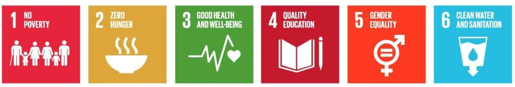 This image shows the first six sustainable development goals