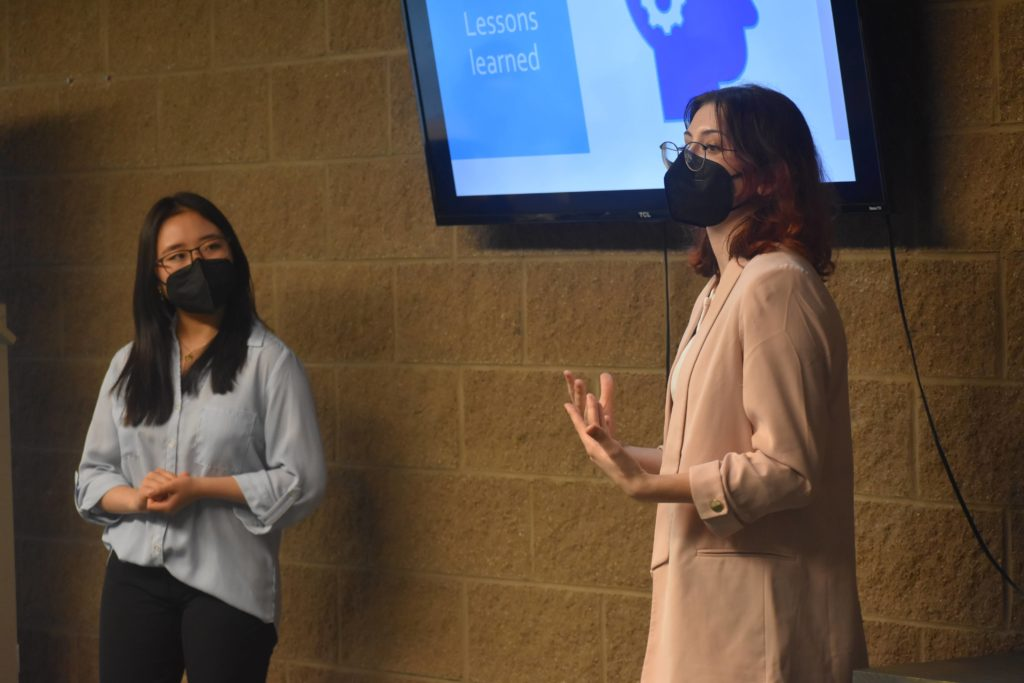 Photo of Nela and Suann speaking at the Brandon Hall School Global Youth Leadership 2021 Cohort